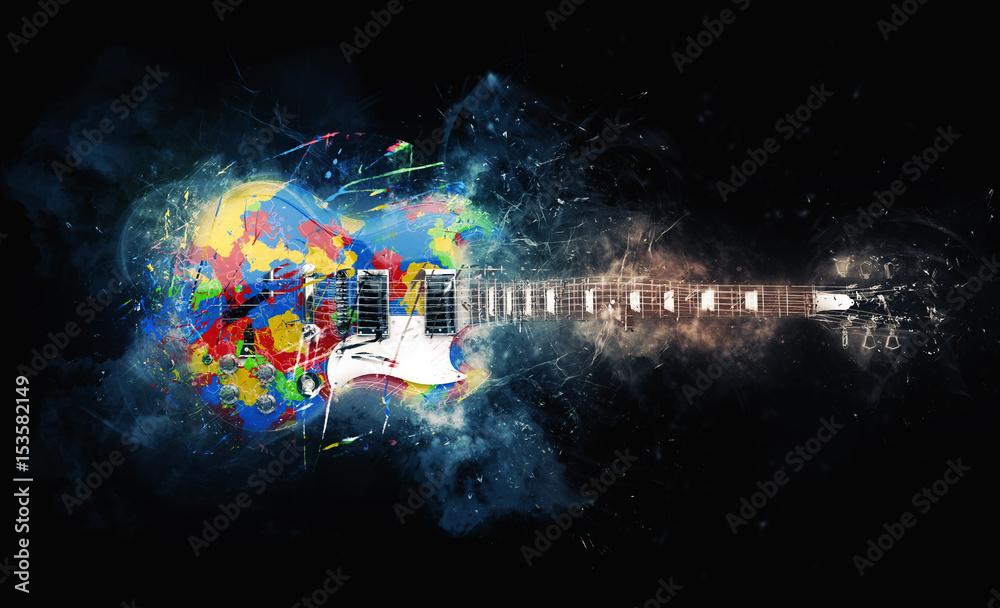 Fototapety, obrazy: Colorful psychedelic rock guitar - grunge illustration