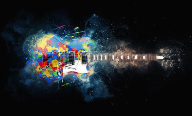 Colorful psychedelic rock guitar - grunge illustration