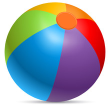 Colorful Beach Ball Vector Ill...
