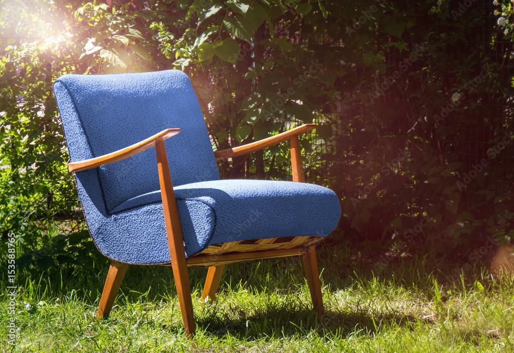 Photo Art Print Alter Antiker Sessel Im Garten Vintage