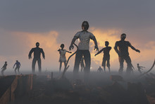 3D Illustration Of A A Crowd Of Zombies