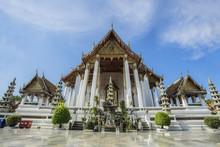 Wat Suthat Thepwararam, The Popular Landmark In Bangkok Thailand With Blue Sky