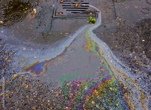 Petrol Oil Running Down a Gutter Drain Tapéta, Fotótapéta