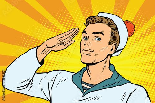 Obraz na płótnie beautiful sailor salutes, the marine profession