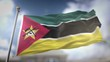 Mozambique Flag Waving Slow Motion 3D Rendering Blue Sky Background - Seamless Loop 4K