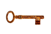 Old Rusty Key On A White Backg...