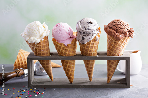 Variety of ice cream cones