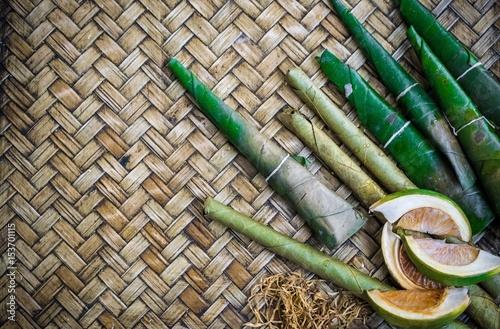 Betel nut with wicker background. Canvas-taulu