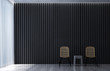 The 3d rendering interior of living room and black wall background