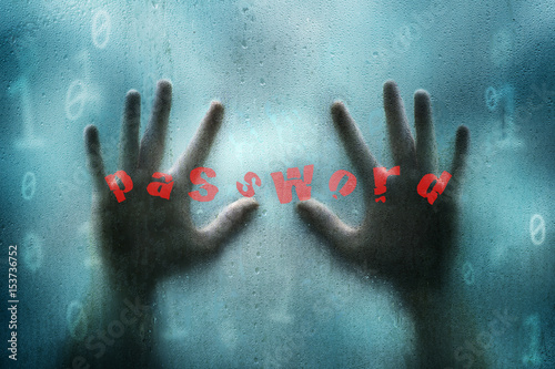 Fényképezés  Conceptual blue colored grunge binary numbers illustration background with hacker hands searching computer password