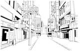 漫画風ペン画イラスト 繁華街