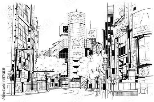 漫画風ペン画イラスト 繁華街 - 153742331