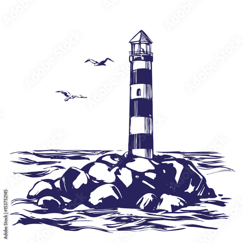 Photo lighthouse and sea landscape hand drawn vector illustration realistic sketch