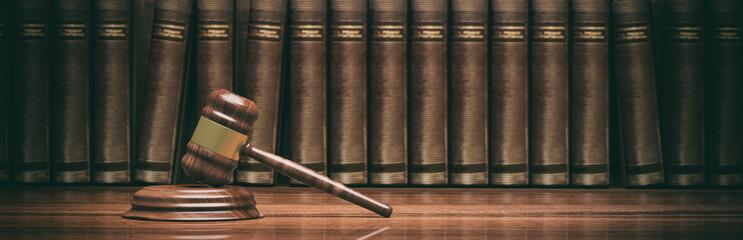 Fototapeta samoprzylepna Wooden judge gavel and law books. 3d illustration