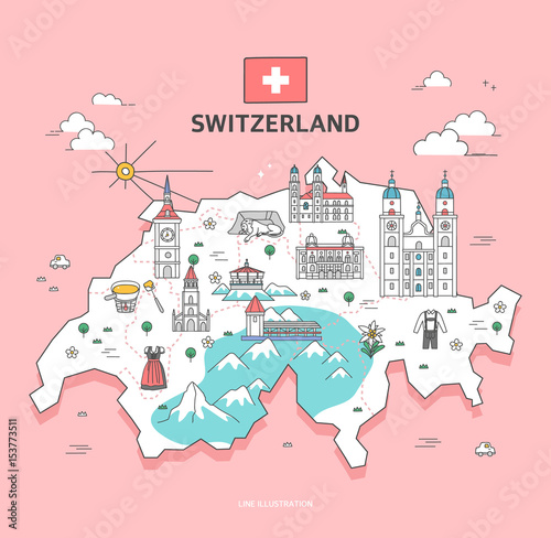Switzerland Travel Landmark Collection Fototapet