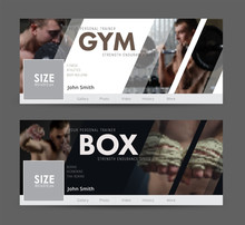 Universal Advertising Template  Banner For Social Networks With Diagonal Elements For The Image Of The Gym, Sports