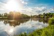 canvas print picture - Sonnenstrahlen Spiegelung im Main bei Aschaffenburg