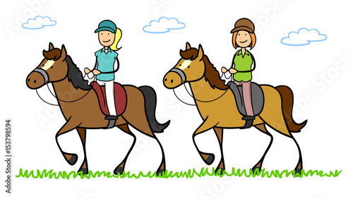 Leinwand Poster Zwei Frauen reiten auf Pferd in Reitferien