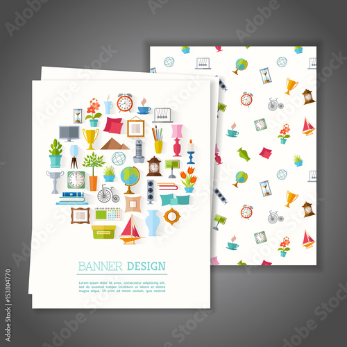 Cards With Home Decor Symbols Greeting Or Cards With Home Decor