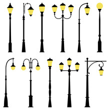 Set Of Street Lamps, Vector Il...