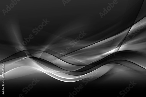 Fotobehang Fractal waves Design trendy element for card, website, wallpaper, presentation. Greyscale modern bright waves art. Blurred pattern effect background. Abstract creative graphic template. Decorative business style.
