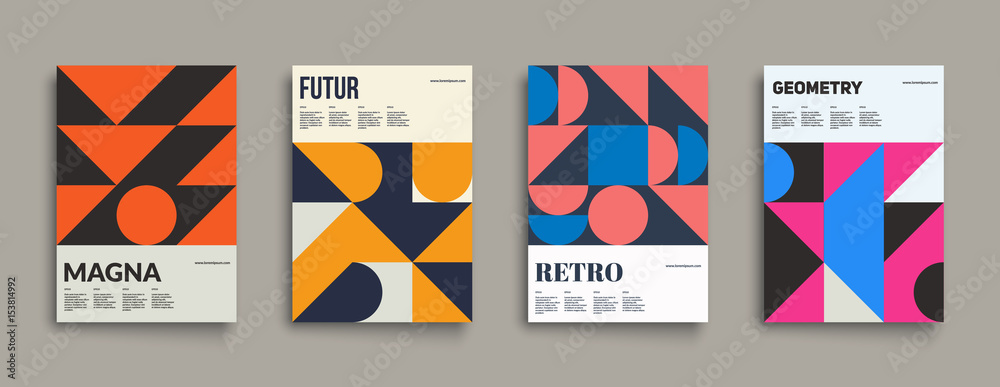 Fototapeta Retro graphic design covers. Cool vintage shape compositions. Eps10 vector.