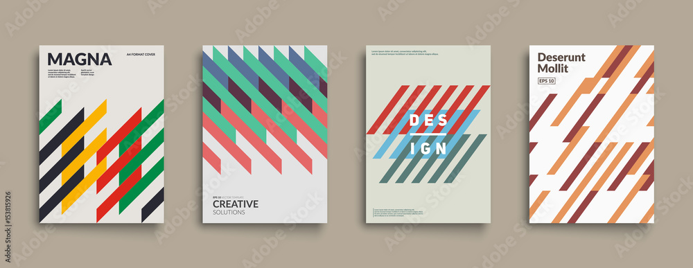 Fototapety, obrazy: Retro graphic design covers. Cool vintage shape compositions. Eps10 vector.