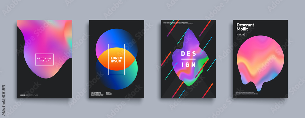 Fototapety, obrazy: Liquid color covers set. Fluid shapes composition. Futuristic design posters. Eps10 vector.