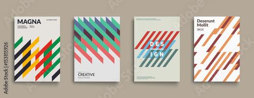 Obraz Retro graphic design covers. Cool vintage shape compositions. Eps10 vector. - fototapety do salonu
