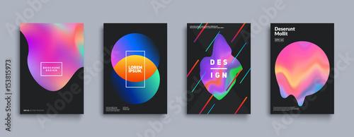 Liquid color covers set. Fluid shapes composition. Futuristic design posters. Eps10 vector.