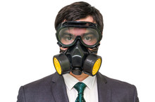 Businessman With Gas Mask Isol...