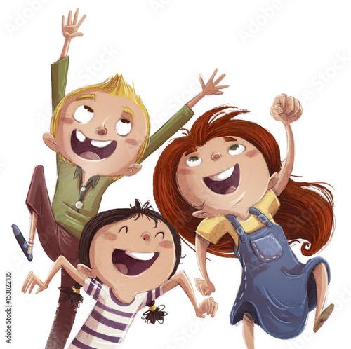 Naklejki do przedszkola ninos-saltando-de-felicidad