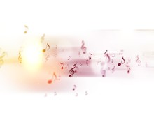 Digital Abstract - Music Notes - Notation Colorful Background - Composition Backdrop Symphony And Clef