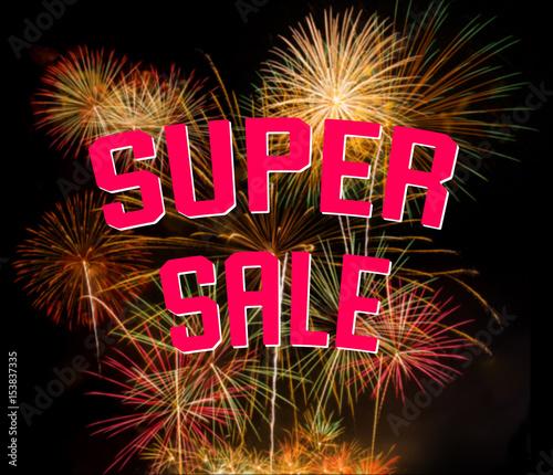 Super sale on colorful fireworks on black background - Buy