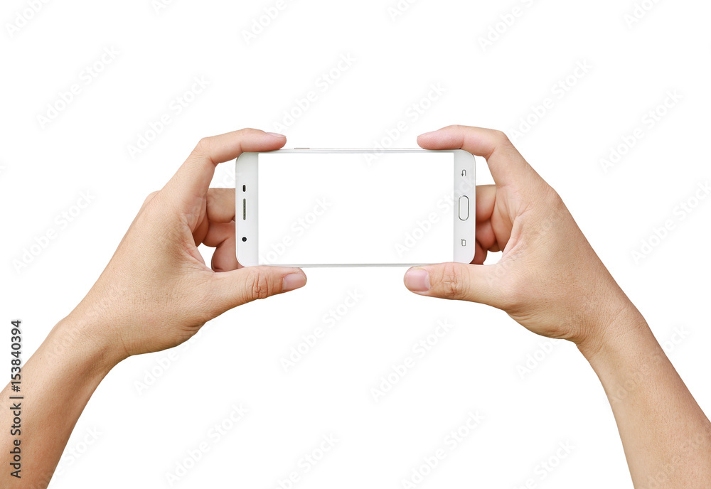 Fototapety, obrazy: Hand holding mobile smartphone with white screen. Mobile photography concept. Isolated on white.