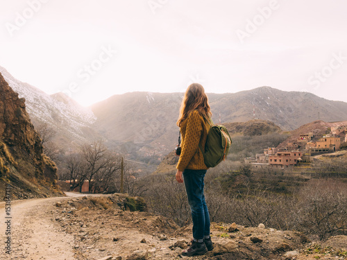 Female tourist with backpack