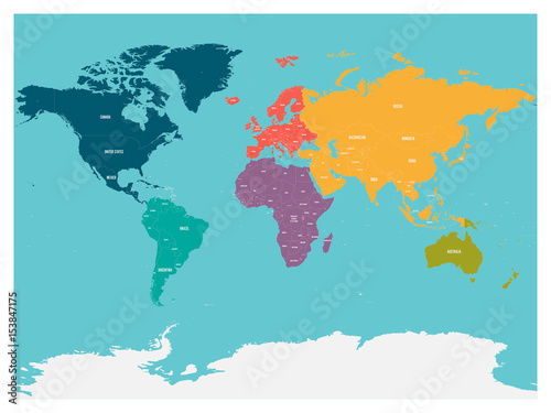 Political map of world with Antarctica. Continents in different ...