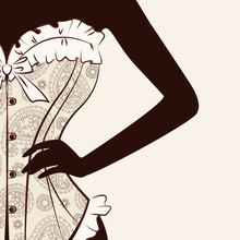 Vector Illustration With Silhouette Of Women. She Is In A Magnificent Corset Which Is Embroidered With Paisley Ornament.