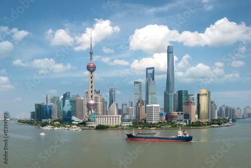 Shanghai Skyline Panoramic View Along Huangpu River At Shanghai