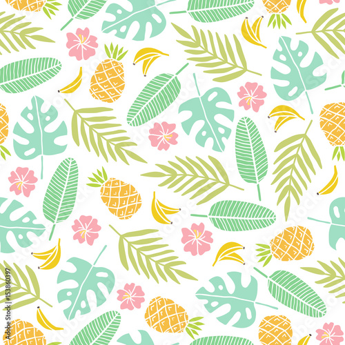 Poster Kunstmatig Beautiful summer background. Tropical leaves, flowers, fruits. Vector seamless pattern