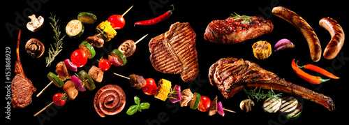 Aluminium Prints Grill / Barbecue Collage of various grilled meat and vegetables