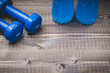 blue dumbbells with water on a dark background/two dumbbells and bottles with water