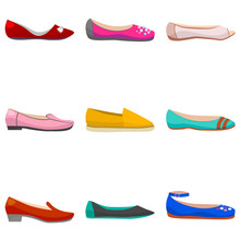 Vector Set Of Women Flat Shoes