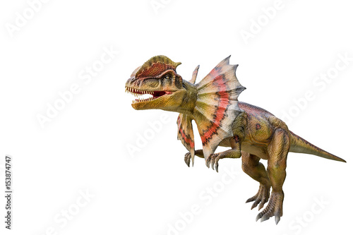 Dinosaur dilophosaurus and monster model Isolated white background