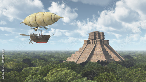 Fantasie Luftschiff und Maya Tempel Fotobehang