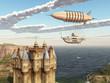 canvas print picture - Fantasie Luftschiff und schottisches Schloss