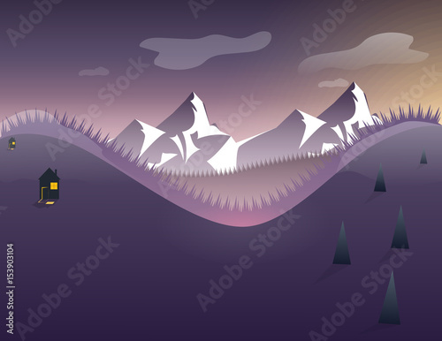 Landscape with mountains, sky, stars, trees. vector illustration on the theme of winter mountains in flat style.