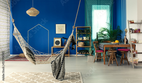 Photo  Bohemian apartment with hammock