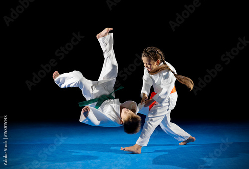Fotografering  Little children martial arts fighters