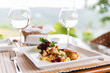 canvas print picture - close up of food on plate at restaurant